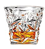 Whiskey Glasses - SET OF 6 - Premium Diamond Spirit Glass set - Lead-Free Glass Cups and Tasting Tumblers for drinking Scotch, Bourbon. Irish whiskey, Brandy - Luxury Gifts for Men or Women