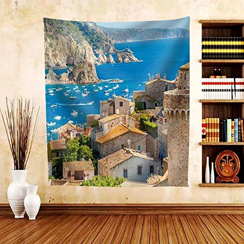 Gzhihine Custom tapestry the Famous Resort of Tossa De Mar on the Costa Brava. - Fabric Tapestry Home Decor - Mar Costa Miami