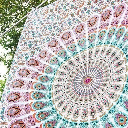 Indian Mandala tapestry Cotton wall hanging Bohemian Hippie Hippy Art dorm decor