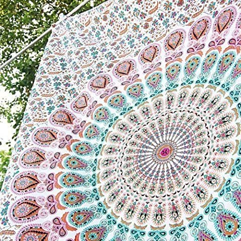 Hippie Tapestry, Hippy Mandala Bohemian Tapestries, Indian Dorm Decor, Psychedelic Tapestry Wall Hanging Ethnic Decorative (Multi - Floral Tapestry