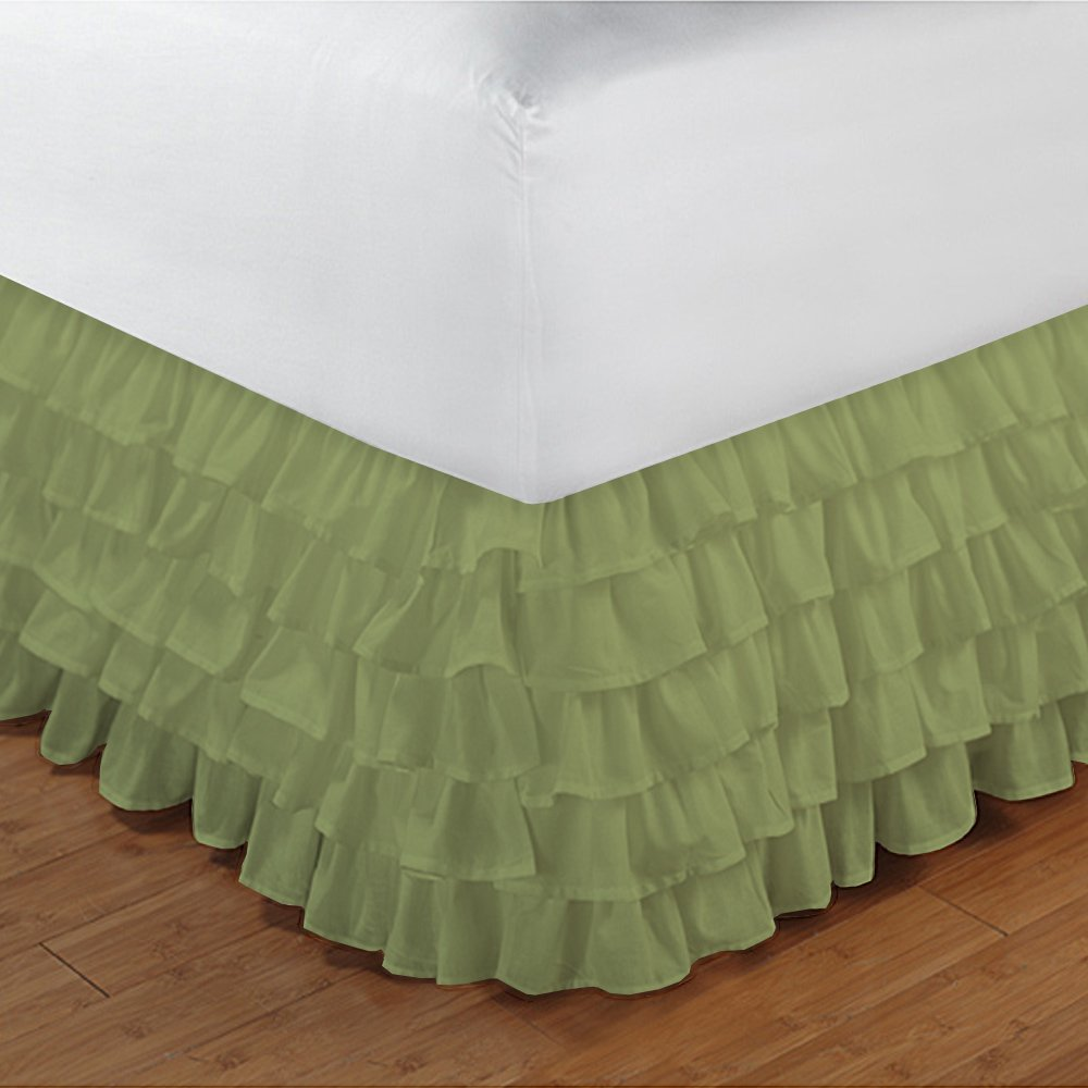 Relaxare Twin XXL 300TC 100% Egyptian Cotton Sage Solid 1PCs Multi Ruffle Bedskirt Solid (Drop Length: 29 inches) - Ultra Soft Breathable Premium Fabric