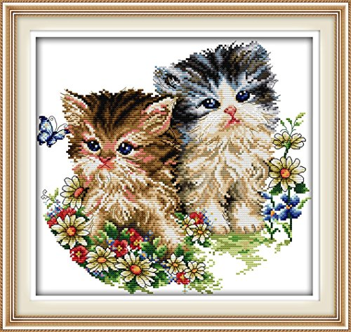 YEESAM ART® New Cross Stitch Kits Advanced Patterns for Beginners Kids Adults - Cat Lovers 11 CT Stamped 42x40 cm - DIY Needlework Wedding Christmas Gifts