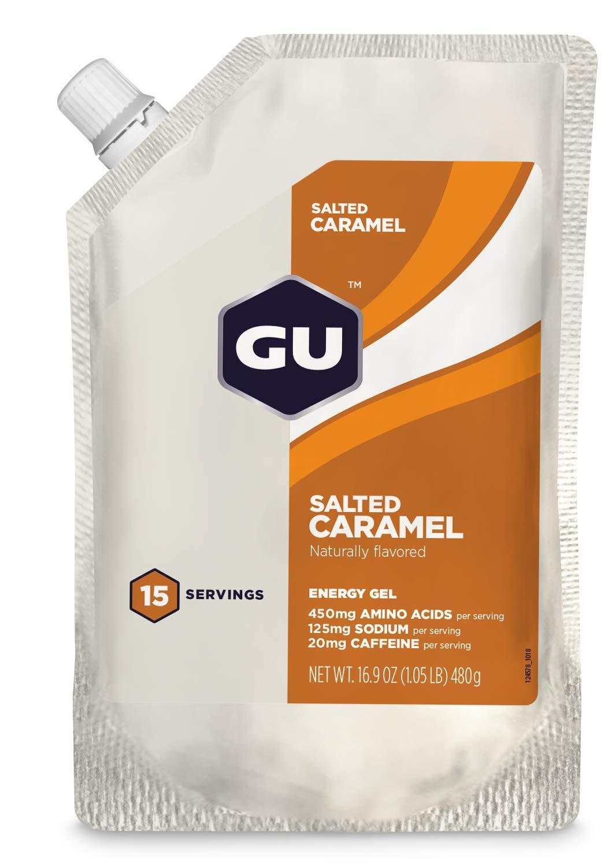 GU Energy Original Sports Nutrition Energy Gel, Salted Caramel, 15-Serving Pouch by GU Energy Labs