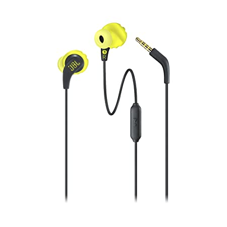 JBL Endurance Run Sweat-Proof Sports in-Ear Headphones with One-Button Remote and Microphone (Yellow) In-Ear Headphones at amazon