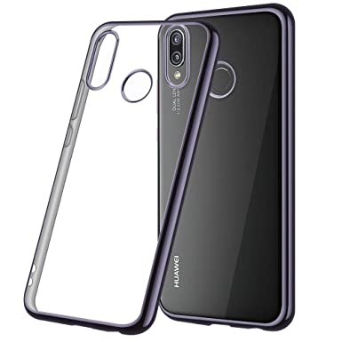 check out 6e642 a278c achoTREE Huawei P20 Lite Case, Plating [ Liquid Crystal ] Ultra Thin TPU  Silicone [ Crystal Clear ] Phone Case for Huawei P20 Lite, Black 5.84 Pouces