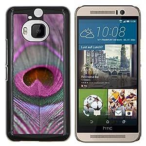 EJOOY---Cubierta de la caja de protección para la piel dura ** HTC One M9Plus M9+ M9 Plus ** --Pluma Patrón Pájaro púrpura de la paz