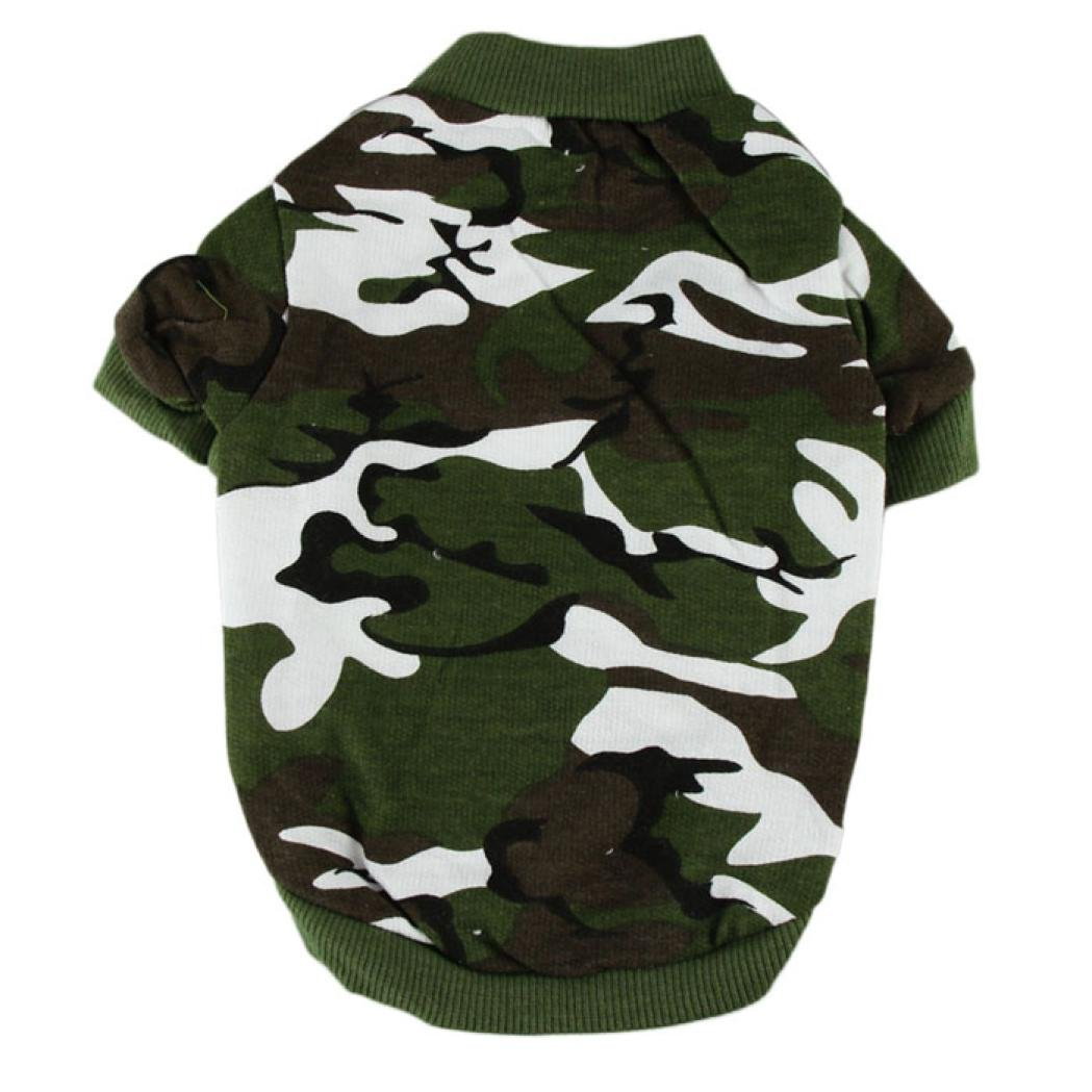 2018 Hot Sale!❤️ZYEE❤️ BIG PROMOTION!New Pet Dog Cat Camo Clothing Hoody Apparel Puppy Doggy Camouflage Coat T-shirt (M, Army Green)