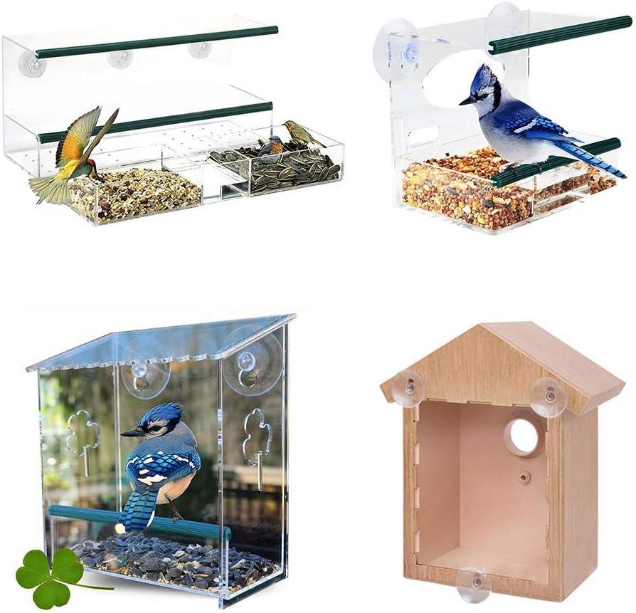 waysad Comederos para Aves, Comedero Pájaros para Ventana con Ventosas, Cristal Acrílico y PVC, Transparente para pájaros Salvajes. Birdhouse Shape.