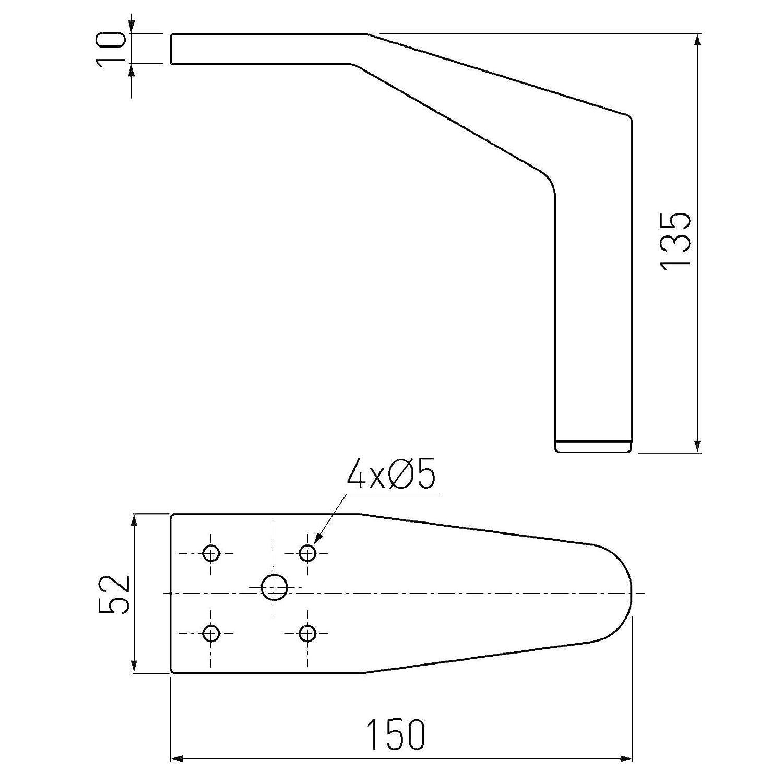 4 x M/öbelfu/ß YANKEE 150 x 52 x 135 mm Chrom poliert Couchfu/ß Sofafu/ß von SO-TECH