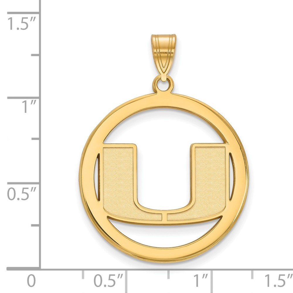 24mm x 33mm Solid 925 Sterling Silver with Gold-Toned University of Miami L Pendant in Circle