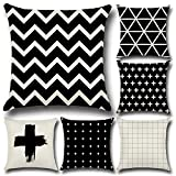 Osye 6-Pack Cotton Linen Sofa Home Decor Design Throw Pillow Case Cushion Covers Square 17.5 Inch(Set of 6 Black and White Series)
