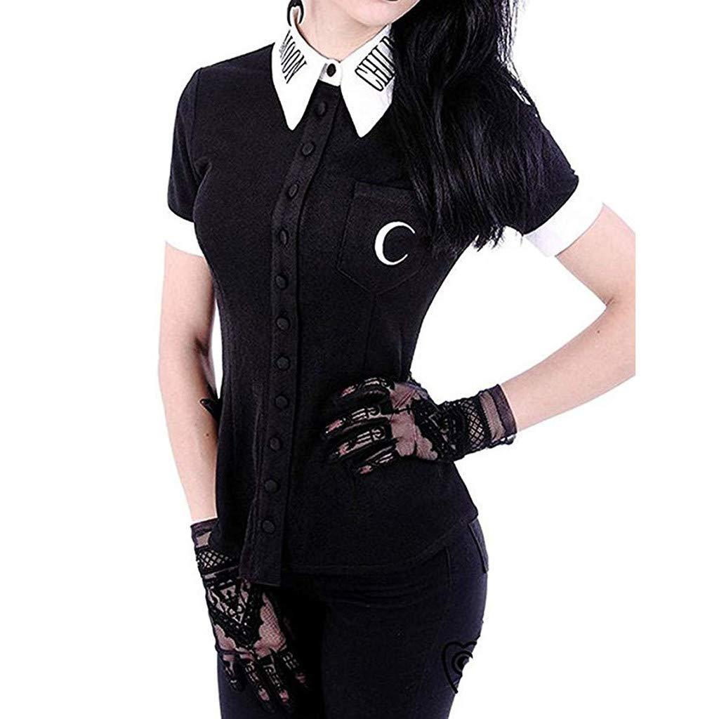 Womens Shirt Cool Moon Print Gothic Punk Black V Neck Button Down Top Short Sleeve T-Shirt Bouse Plus Size (L, Black)