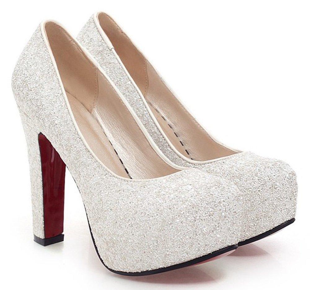 SFNLD Women's Elegant Sequined Round Toe Platform High Chunky Heel Slip On Wedding Pumps Shoes White 8 B(M) US
