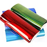 """10 pcs 8"""" x 13"""" (20cm x 34cm) Mirror PVC Synthetic Leather Fabric Thick Canvas Back Craft DIY Craft Assorted Colours (10 Color Mirror)"""
