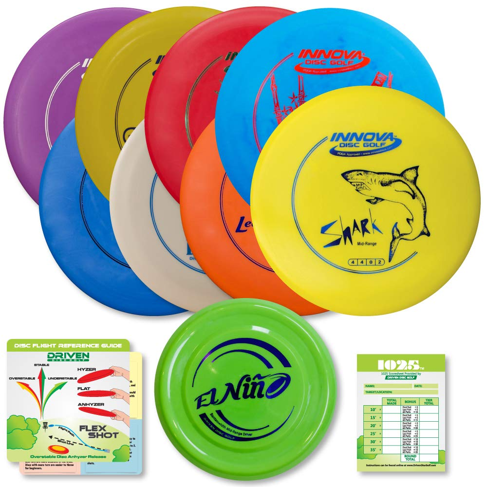 Innova Disc Golf Starter Set | 8 Beginner Discs - DX Putter, Mid-Range, Drivers - 1025 Putting Game - Flight Reference Card - Driven Mini Marker | Disc Colors Vary