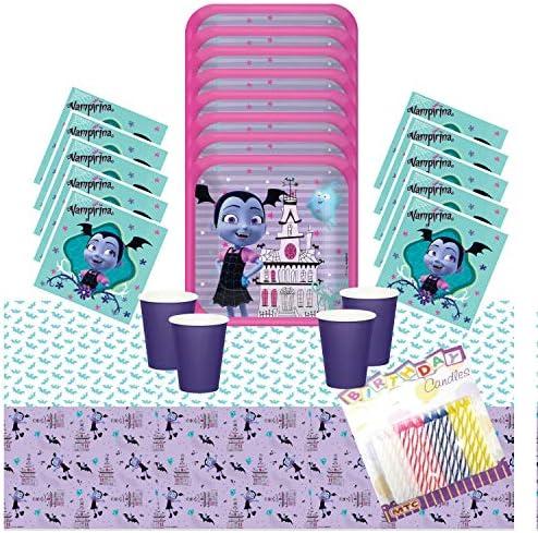 Disney Vampirina Party Supplies Pack sirve 16 – Platos de postre bebidas servilletas tazas y cubierta de mesa con velas de cumpleaños – Deluxe (Paquete para 16): Amazon.es: Juguetes y juegos