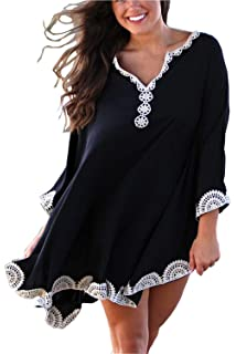Women Solid Oversized Beach Cover Up Swimsuit Bathing Suit Beach Dress Black New