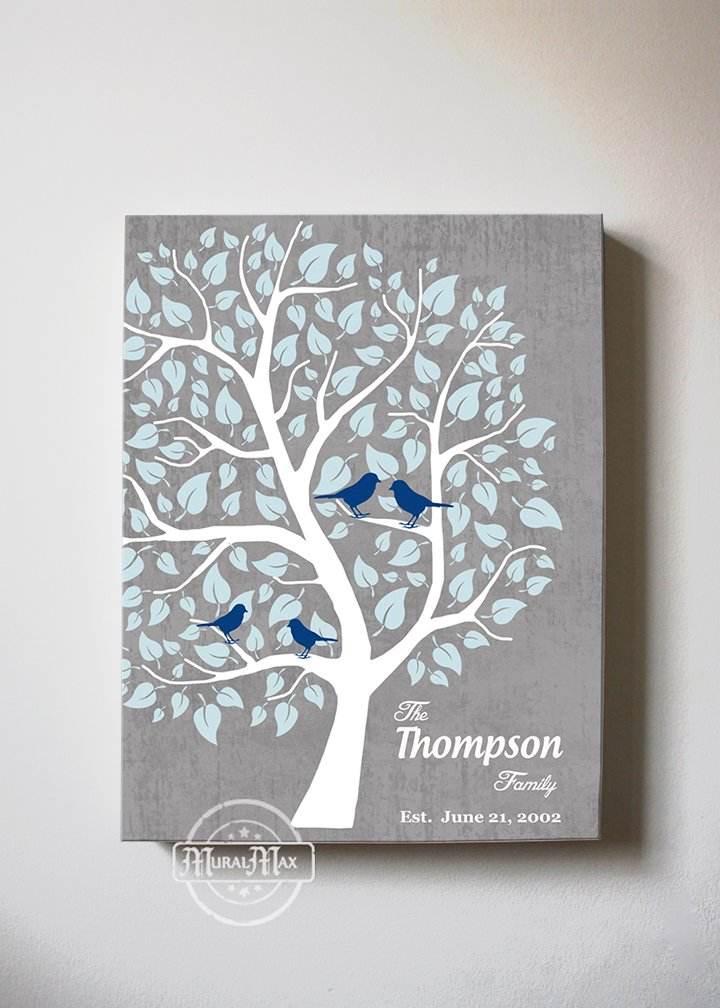 MuralMax - Personalized Couple Family Tree - Stretched Canvas Wall Art - Make Your Wedding & Anniversary Gifts Memorable - Unique Wall Decor - Color - Gray - 30-DAY - Size 20 x 24