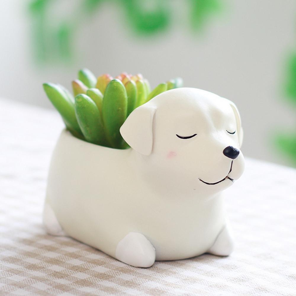 Aolvo Petit Pot De Fleurs Artificielles Pot En Forme De Chien