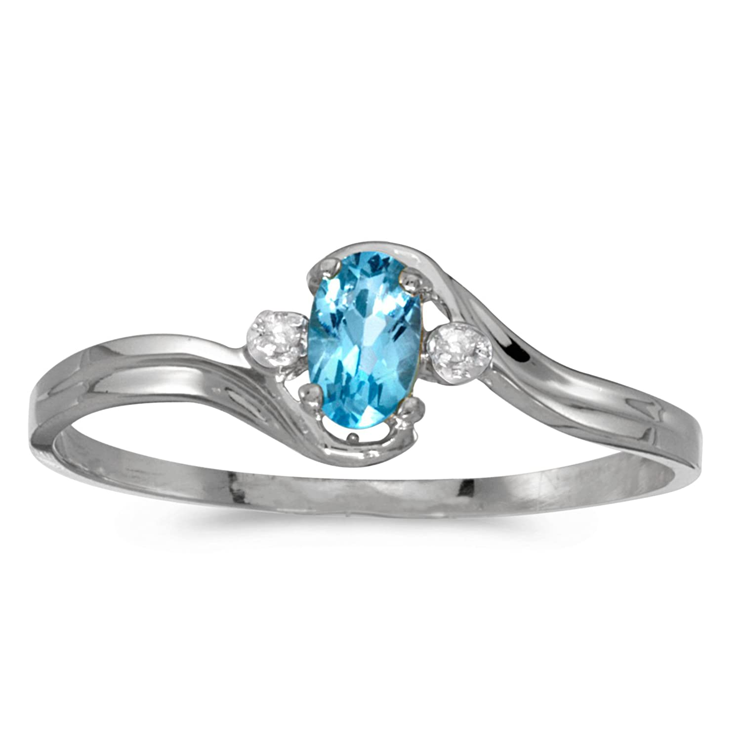 Amazon 10k White Gold Oval Blue Topaz And Diamond Ring Jewelry
