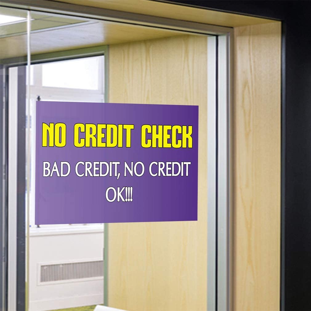 24inx16in Decal Sticker Multiple Sizes No Credit Check! Business No Credit Check Ok Bad Credit No Credit Ok Outdoor Store Sign Lavender Set of 10
