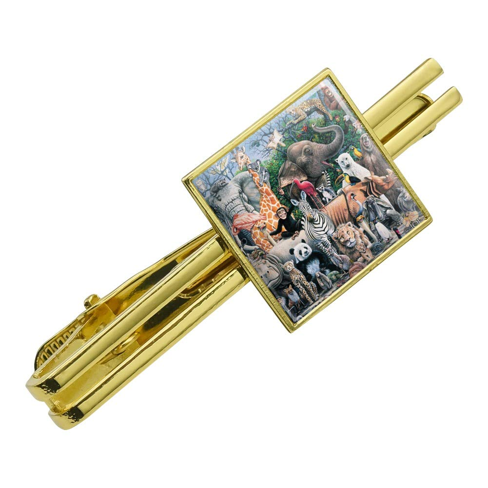 Graphics and More World Animals Family Reunion Monkey Bear Zebra Elephant Square Tie Bar Clip Clasp Tack Silver or Gold