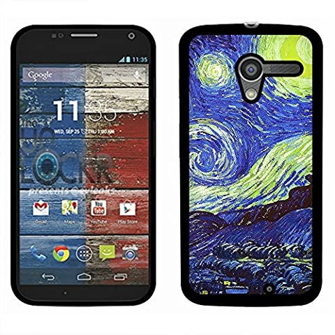 Motorola Moto X Phone XT1058 1st Gen 2013 Case, Fincibo (TM) Back Cover Slim Fit Hard Plastic Protector, The Starry Night Moon Van (Moto X 1st Gen Phone Covers)