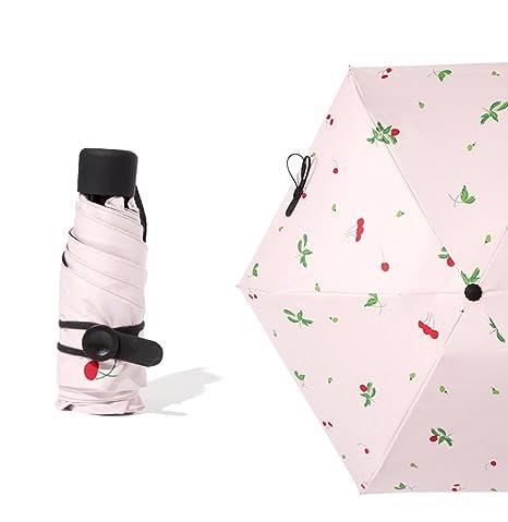 LIMISKY Paraguas plegable Manual Simple Mini Paraguas de mujer Anti-UV Ligero Sombrilla Pequeña Doble