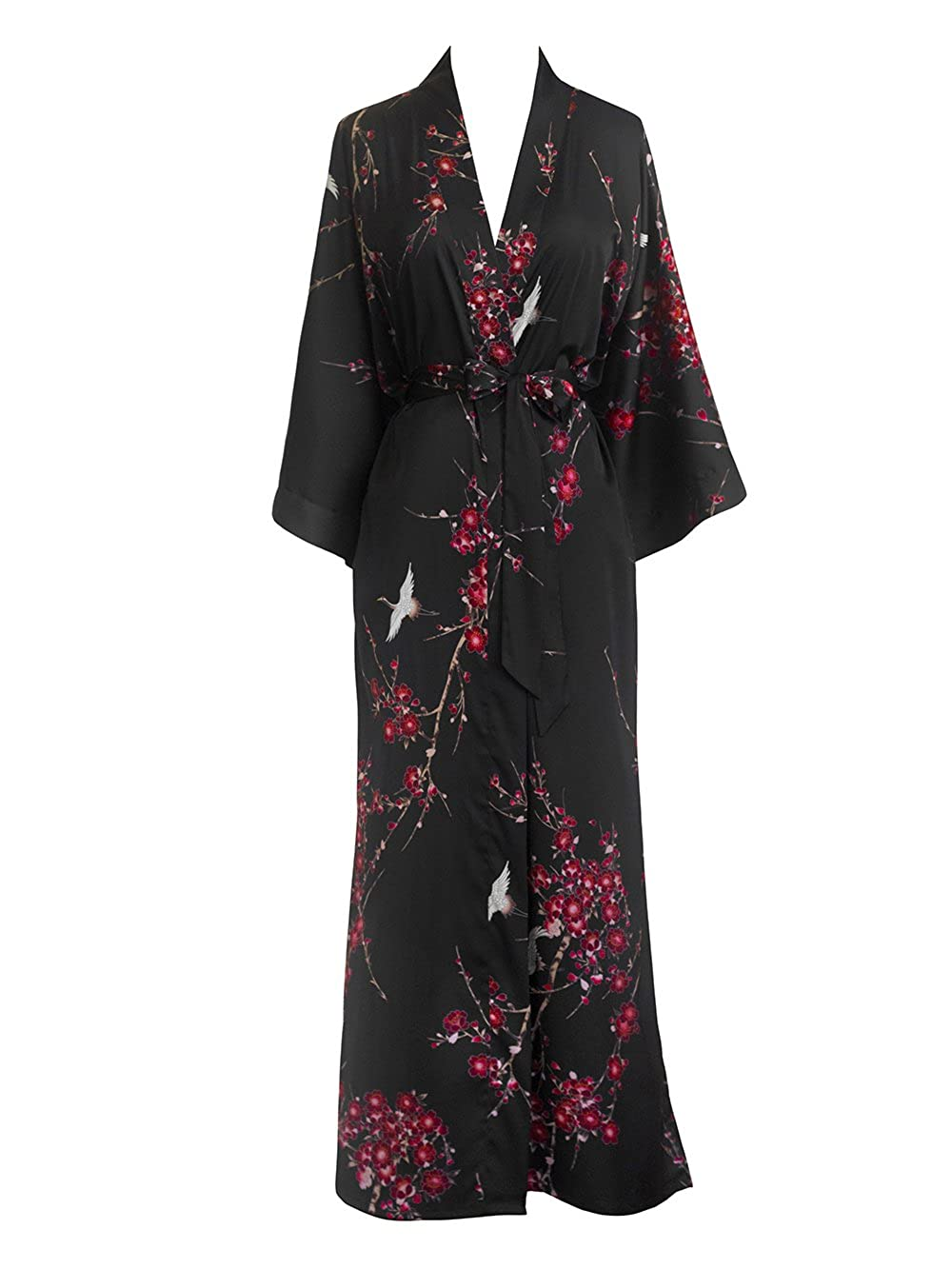 Cherry Blossom & Crane Black Old Shanghai Women's Kimono Robe Long  Watercolor Floral