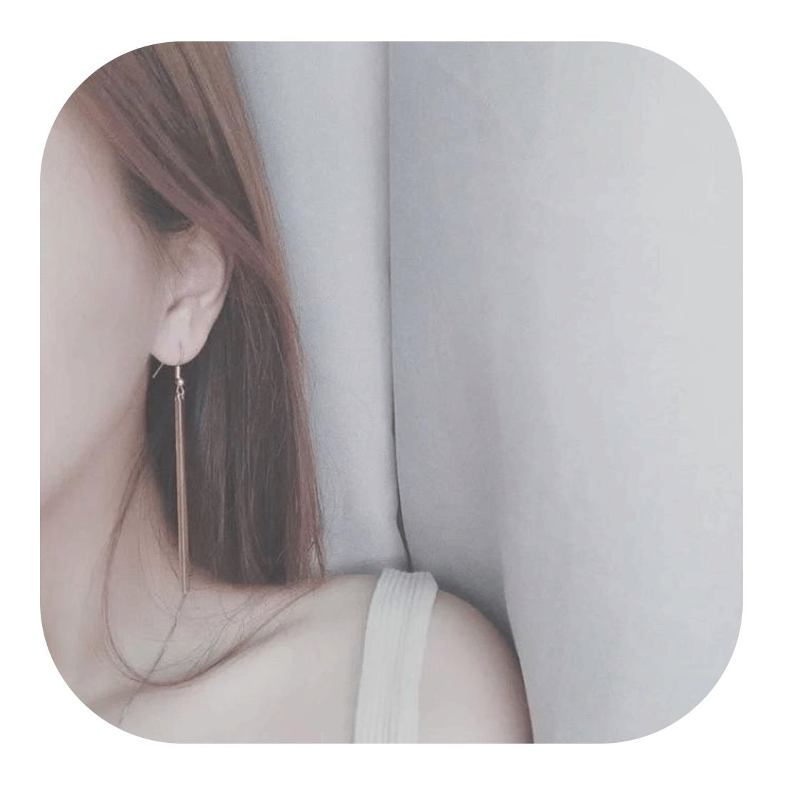 Molyveva Vertical Bar Dangle Earrings Minimalist Drop Dangle Earrings Bar Earrings Line Simplify Earrings