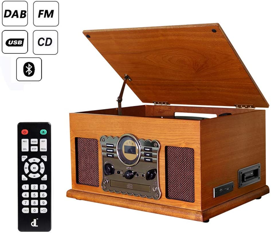 Stand Alone Music Player Remote Control Bluetooth Viny Record Player Turntable DIGITNOW Cassette Built-in stereo speaker AM// FM Radio and Aux in with USB Port /& SD Encoding- Remote Control CD