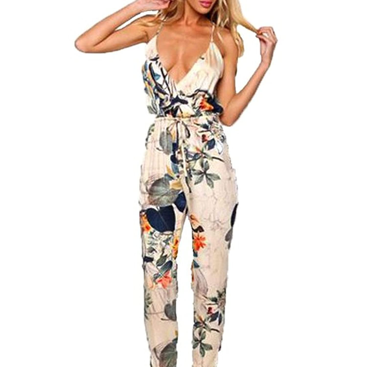 LOBTY Damen Jumpsuit Business V-Ausschnitt Einteiler Overall Strampelhöschen Cocktail Kleider Playsuits Romper High Waist Party Club