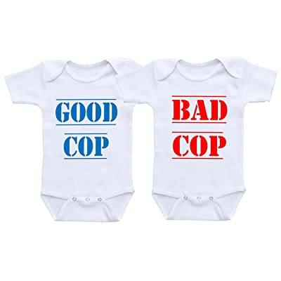 Dazzle Labs Unisex Good Cop Bad Cop Funny Twins Baby Onesie Bodysuit