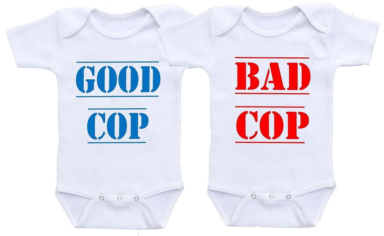 e318d67ad930 Amazon.com: Dazzle Labs Unisex Good Cop Bad Cop Funny Twins Baby Onesie  Bodysuit: Clothing