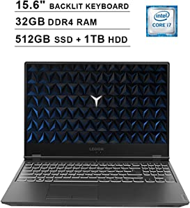 2020 Lenovo Legion Y540 15.6 Inch FHD 1080P Gaming Laptop (Intel 6-Core i7-9750H up to 4.5GHz, NVIDIA GeForce GTX 1650 4GB, 32GB DDR4 RAM, 512GB SSD (Boot) + 1TB HDD, Backlit Keyboard, Windows 10)