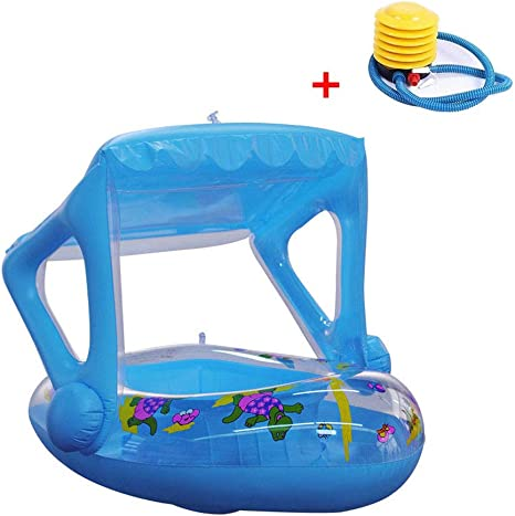 Inflable Piscina Flotador Bebé con Toldo Ajustable Parasol ...