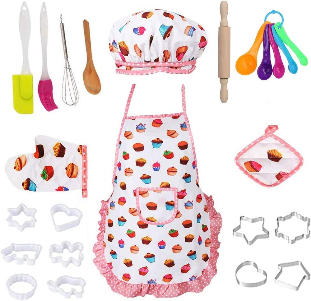 Kids Cooking and Baking Set, Kids Chef Role Play for Girls, Kids Chef Costume Playing Cooking Baking Set Includes Kids Apron, Chef Hat, Oven Mitt and Baking Tools for Little Kids Gift