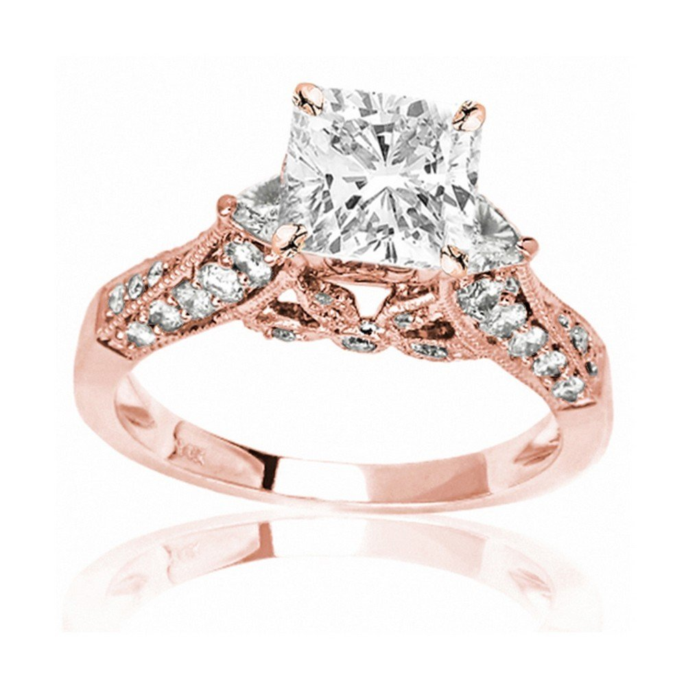 14K Rose Gold 1.88 CTW Trillian And Round Diamond Engagment Ring w/ 1 Ct GIA Certified Cushion Cut I Color VS2 Clarity Center