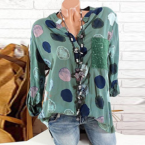 Neck Wave Point Shirt Taille Manches Femme Vert V LULIKA d'impression Shirt LaChe Blouse Tops Tee Longues T Grande UYgnw4