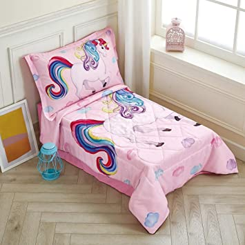 Wowelife Rainbow Unicorn Toddler Bedding Set Pink 4 Piece Clounds Toddler Bed Sets For Girls Pink Unicorn