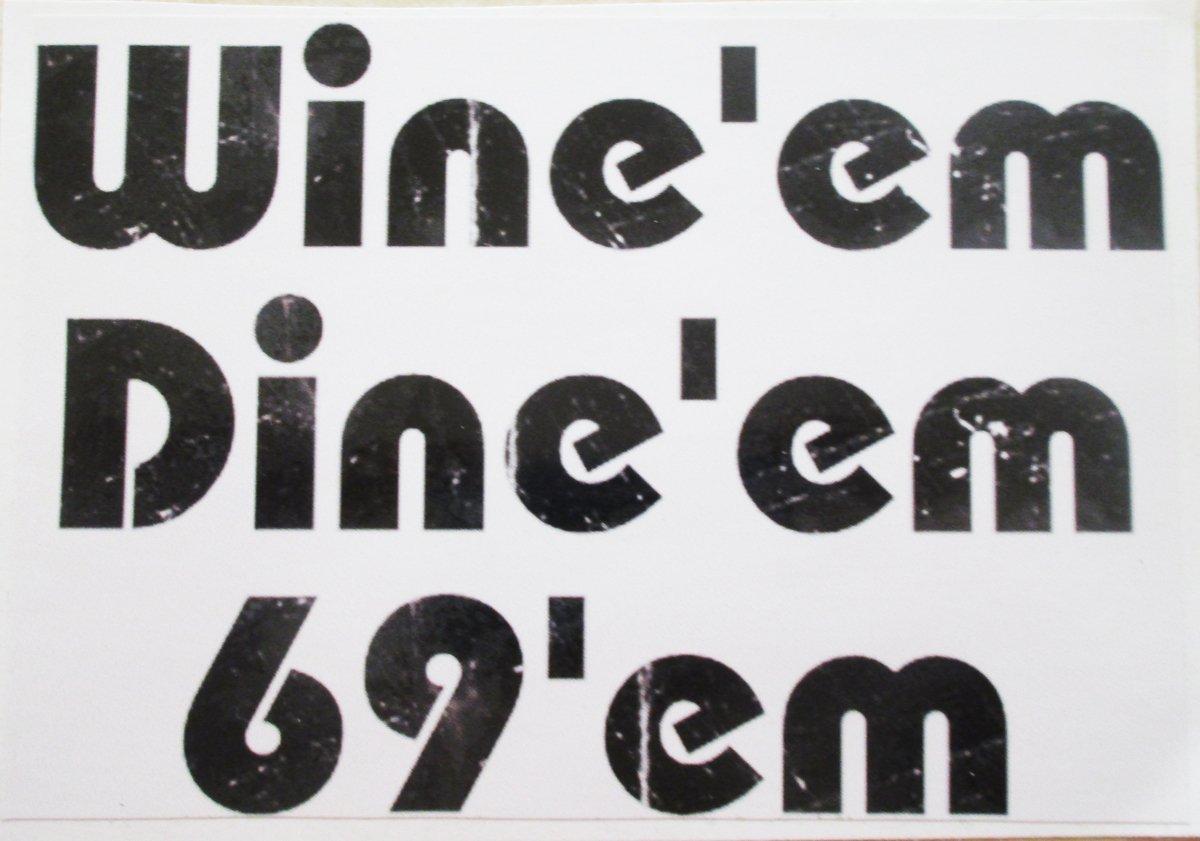 U s custom stickers wine dine 69 sticker black