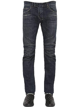 0dffb090 Balmain Washed Cotton Denim Blue Biker $990 Authentic Jeans Size 27 New at  Amazon Men's Clothing store: