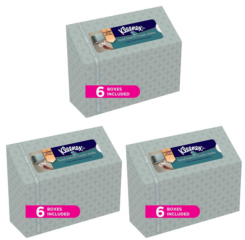 Kleenex ハンドタオル 使い捨てタオル60枚入り B07KY15Z7B  3 Case of 6 Boxes
