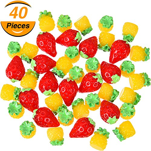 - TecUnite 40 Pieces Mini Pineapple and Strawberry Shape Beads Resin Slime Charms Beads Cute Fruit Slime Beads for DIY Crafts Making