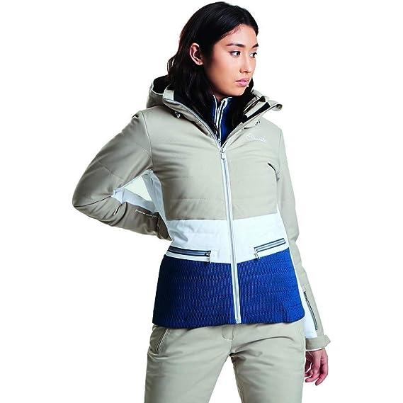 Dare2B Womens Ladies Surpass Jacket (UK Size 6) (Macchiato White Blue c93b0d87b
