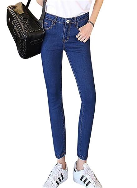Pants Dabag Jeans Vita Da Basic Pantalone Ragazzi Alta Donna Denim 7 Attillati Cotone PffYxrw