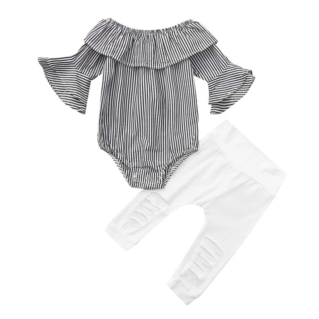 Toddler Infant Baby Girl Striped Tops Romper Ripped Pants Outfits Clothes Set WOCACHI Toddler Baby Girls Clothes