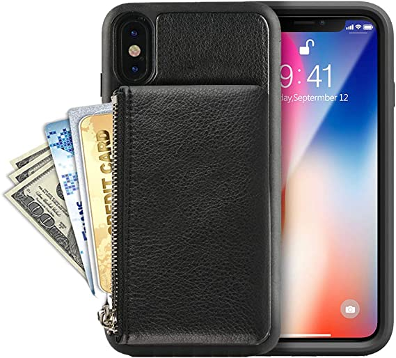 Black Shockproof TPU Bumper Phone Cover Compatible with iPhone XR 6.1 6.1-Inch LAMEEKU Wallet Case for Apple iPhone XR 2018 Protective Leather Cases with Credit Card Holder Case Money Pocket