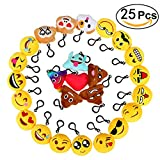 Emoji Keychains, Libar Cute Mini Plush Pillows Kids Emoji Party Decorations, Wall Decor and Party Favors 2- Inch (25 Pack)