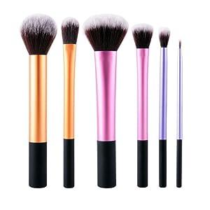 Set 6 Pinceaux de Maquillage Fond de Teint Poudre Eyeliner Contour Lustrage Correcteur